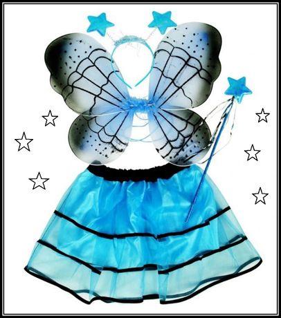 Fato de FADA-BORBOLETA azul, festa, carnaval