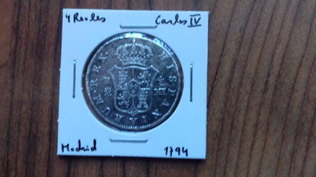 Moeda 4 Reales 1794 Espanha Carlos IV