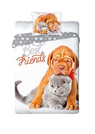 Pościel dziecięca  140x200 kot i pies