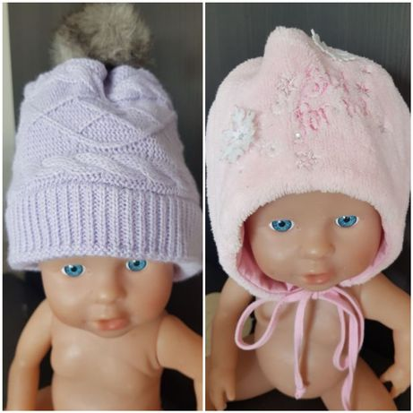 2 ciepłe czapeczki na zimę, różowa wiązana i fioletowa z pomponem