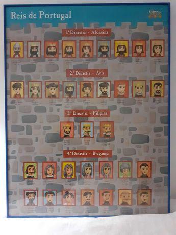 """Quadro """"Reis de Portugal """"emoldurado. Gravura c Reis Jornal Expresso."""