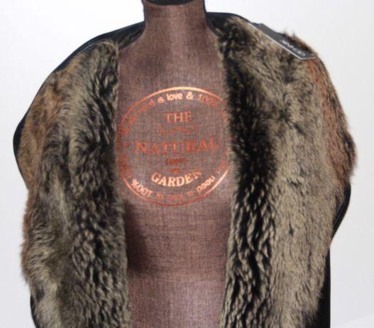 OCHNIK kożuch kożuszek futerko futro skóra skórzana kurtka czarny 38 m