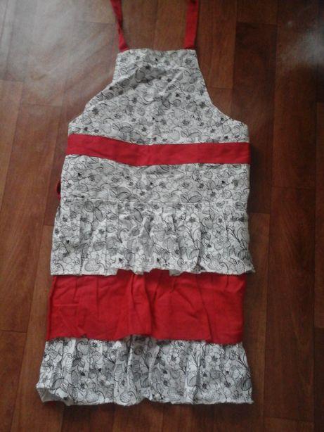 Fartuch kuchenny nowy fartuszek bialo czerwony