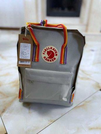 Рюкзак kanken Rainbow Fog Канкен Радужные ручки Серый