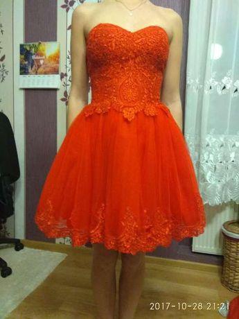 Sukienka czerwona studniówkowa