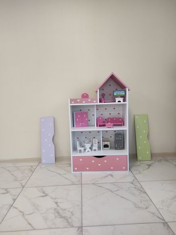 Кукольный домик,домик для куклы Барби, стеллаж для книг и игрушек