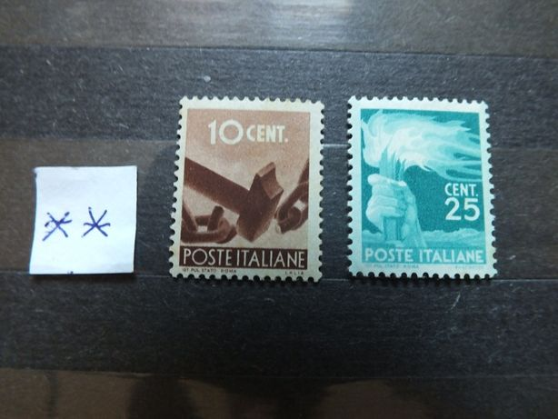2szt. znaczki Mi682/1945r.,684/1946r.,Włochy stan** czyste,klej Italia
