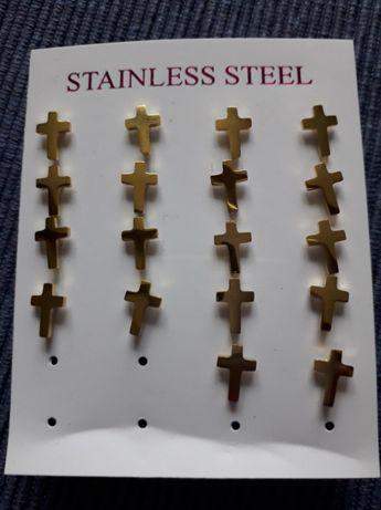 Kolczyki Krzyż Wkręty Stal Chirurgiczna