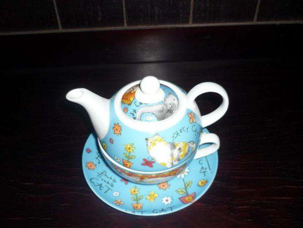 Bule em porcelana chinesa composto por 3 peças para coleção