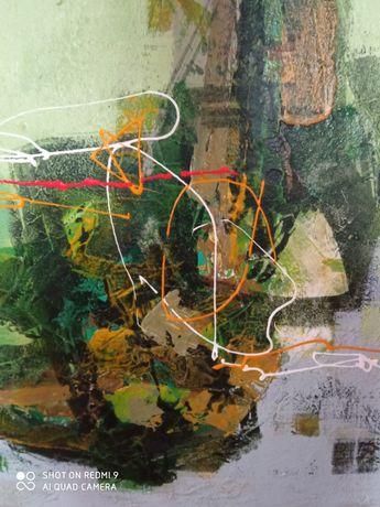 obraz olejny na płótnie -abstrakcja-duży
