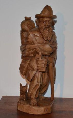 Estatueta esculpida em Madeira Maciça – Velho Mendigo
