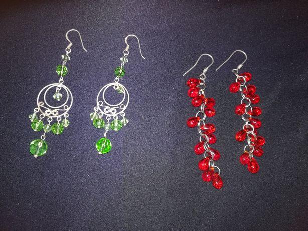 Kolczyki srebrne czerwone zielone kamienie