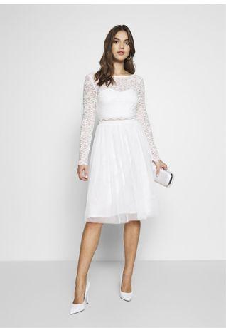 ASOS biala koronkowa sukienka z tiulem ślub cywilny odkryte plecy midi