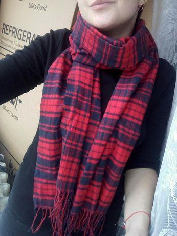 Клетчатый широкий шарф плед h&m 176см x 47см