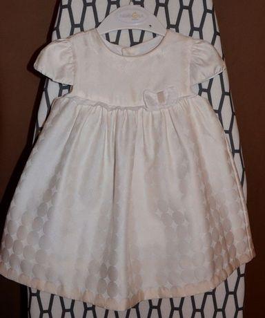 Sukienka 80 biało-ecru NEWBORN wizytowa elegancka na święta