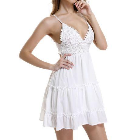 Vestido curto, elegante e sexy com peito em crochê NOVO