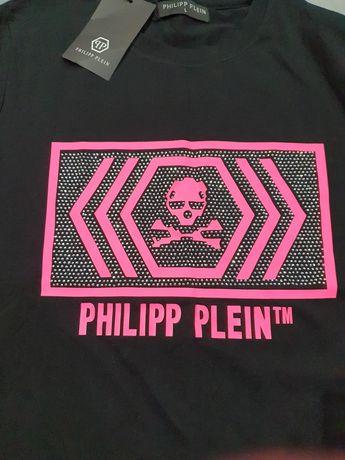 Philipp Plein koszulka damska t-shirt neon róż L