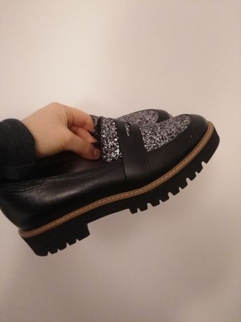 Buty mokasyny 38.5 39 czarne jak nowe