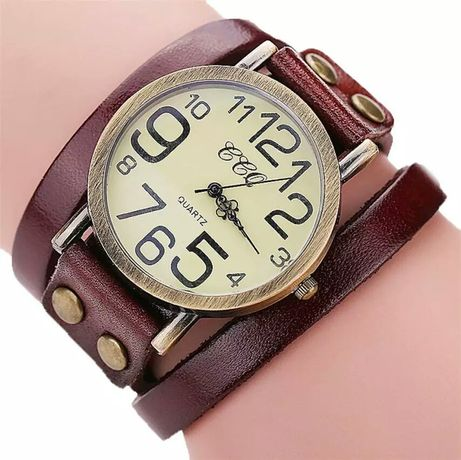 НОВЫЕ часы кварцевые кожаный браслет