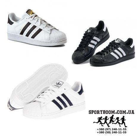 Кроссовки Adidas SuperStar женские черные белые адидас супер стар