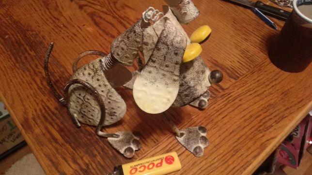 РУЧНАЯ работа статуэтка фигура собака металлический серебристый пес