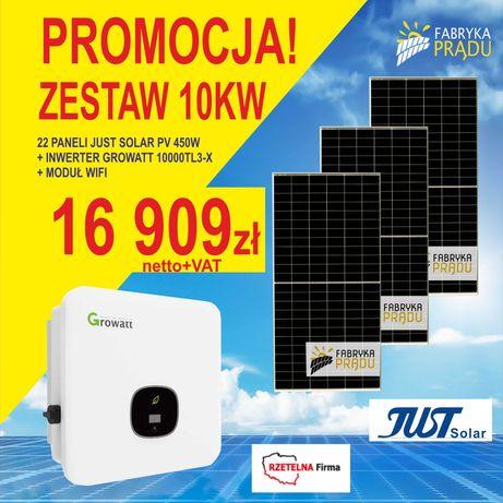 Zestaw 10 kW Panele fotowoltaiczne Panel 450W + Falownik Growatt 10kW