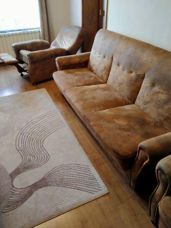 Zestaw mebli wypoczynkowych, sofa + fotele relaksacyjne