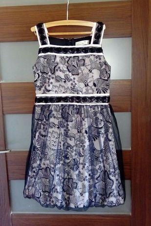 Sukienka bombka tiulowa zdobiona róże tiul 146 różowa czarna