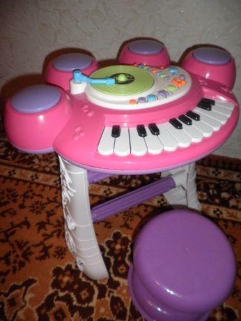 ИНТЕРАКТИВНОЕ пианино с барабанами диджей пультом набор с стульчиком!!