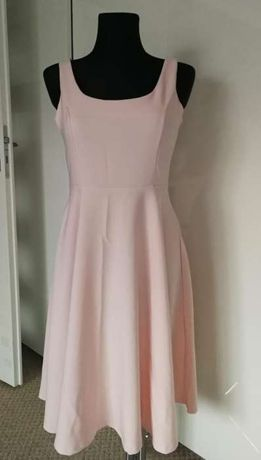 Sukienka midi pudrowy róż r.M