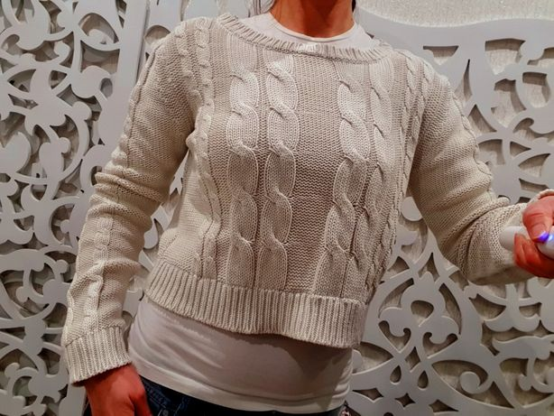 Свитер S / M женский укороченный вязанный косичка топ крутой свитшот