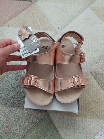 Sandały skóra nowe 29 z metką H&M różowe złoto hm