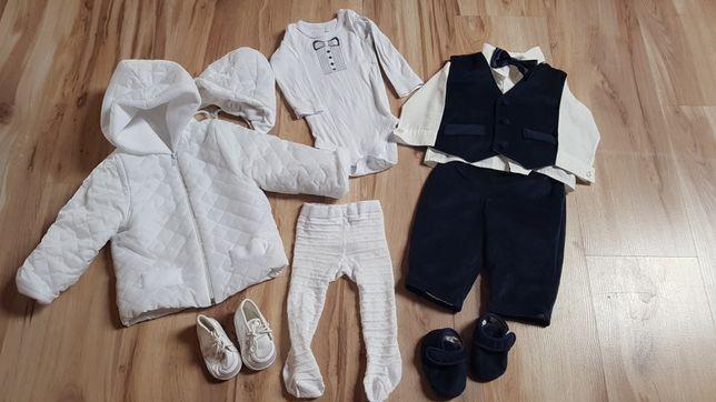 Ubranko na chrzest dla chłopca - kurtka, garnitur +akcesoria. R.68
