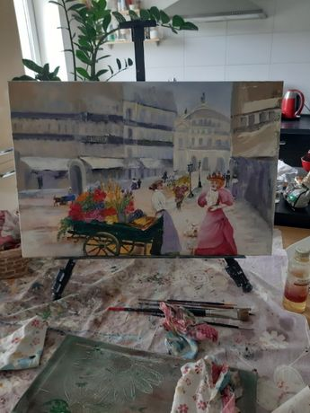 """Картина """"Старый Париж. Цветочница"""" масло, холст 60*40"""