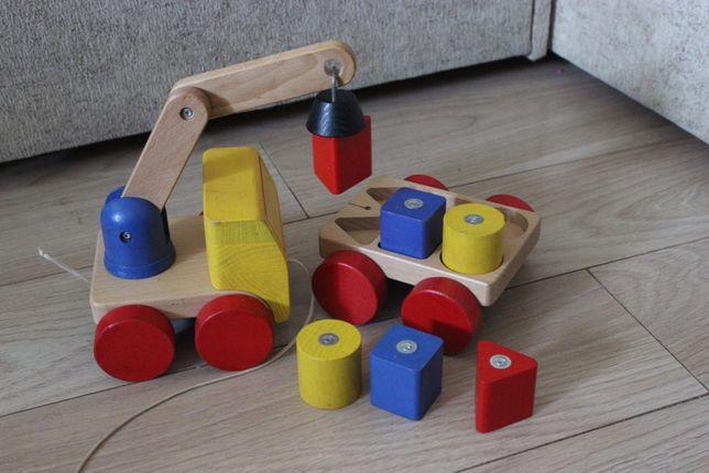 Zabawka drewniana na magnes (dźwig z przyczepką)