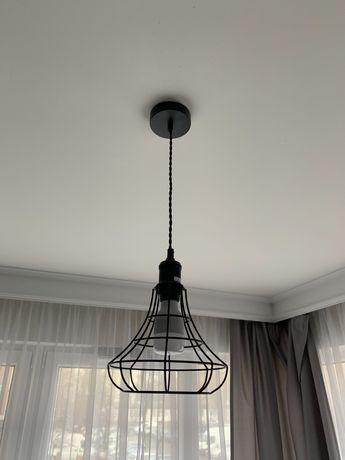 Lampa wisząca Italux koszyk loft SYNTHIA metalowy klosz czarna