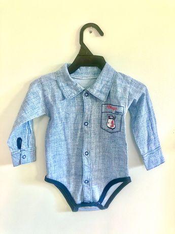 Niebieskie body koszulowe dla chłopca 68 cm Mrofi