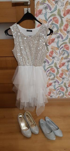 Sukienka srebrno-biala.