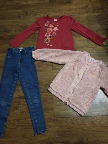 Komplet zestaw spodnie bluza bluzka zara 122/128