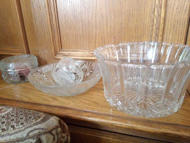 Zestaw kryształowy kryształ PRL misa szkatułka miska na owoce szkło