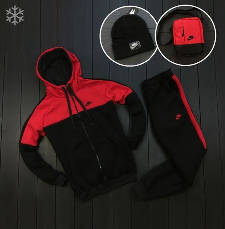 Nike! ТЁПЛЫЙ Мужской спортивный костюм+шапка+мессенджер на осень-зиму