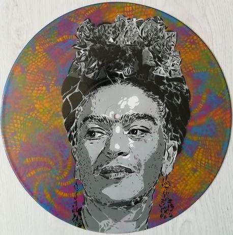 Frida kahlo pintura original em disco de vinil