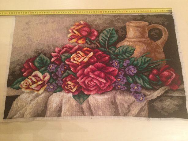 Obraz kwiaty kanwa haft krzyżykowy rękodzieło