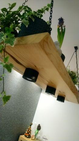 lampa nad stół styl loftowy salon półka wisząca drewno