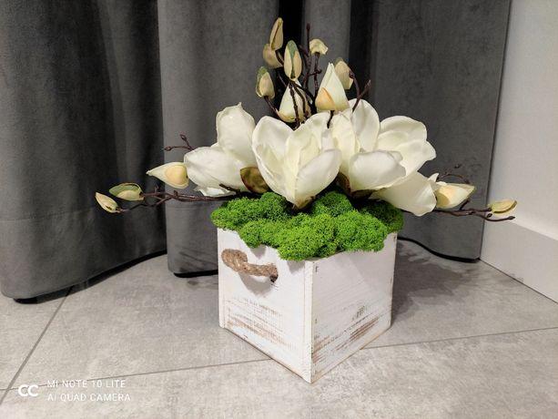 Kompozycja: Magnolia, Mech Chrobotek, osłonka 13 cm