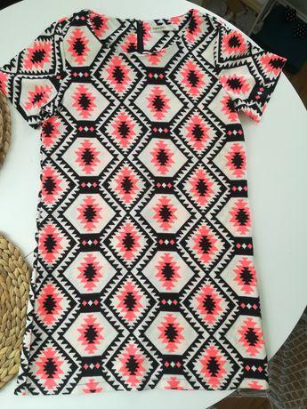 Sukienka pudełkowa minimalizm prosta wzór print tuba 36 38