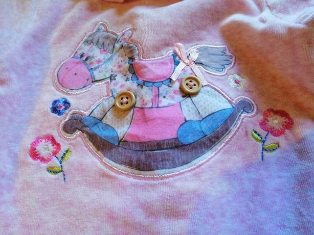 Różowa bluzka plusz 6-9 m-cy 68/74 aplikacja konik
