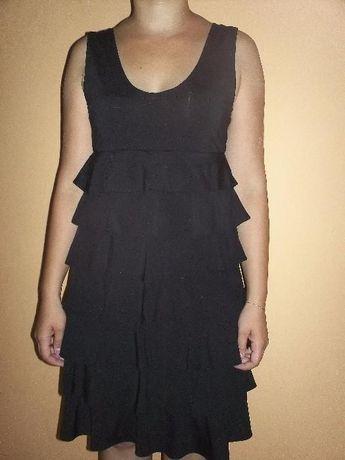 NOWA Laura Scott czarna sukienka w falbanki 38 M
