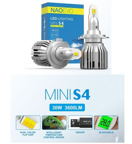 Трехцветные светодиодные авто LED лампы NAOEVO S4 H4 H1 H7 H11 H8 Hb4