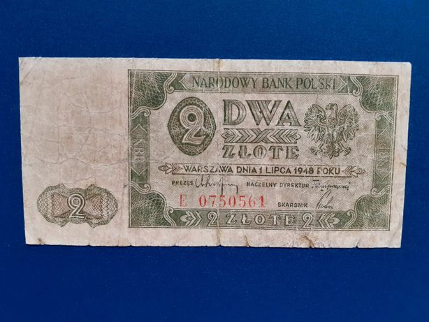 Banknot 2 złote, 1.07.1948, seria E